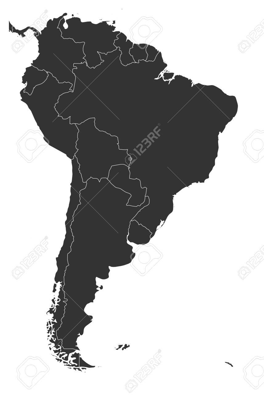 Blank Political Map Of South America Simple Flat Vector Map