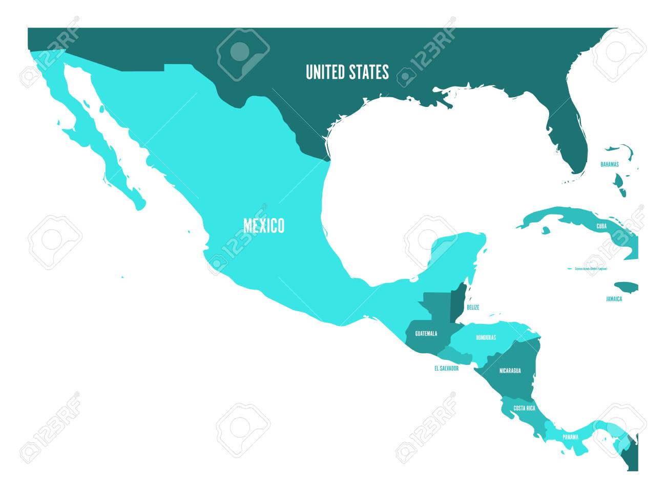 Political map of Central America and Mexico in four shades of..