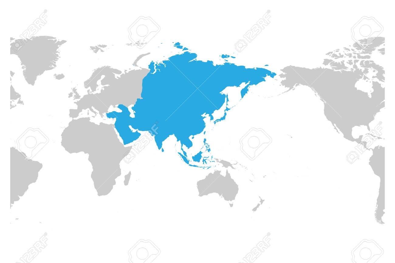 World Map Asia Centered.Asia Continent Blue Marked In Grey Silhouette Of World Map Centered