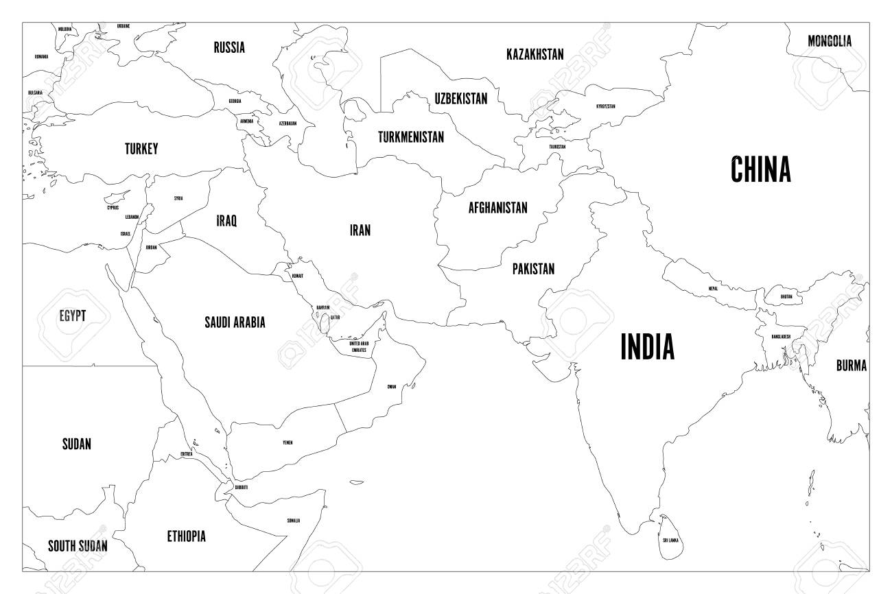 Black Map Of Asia.Political Map Of South Asia And Middle East Countries Simple
