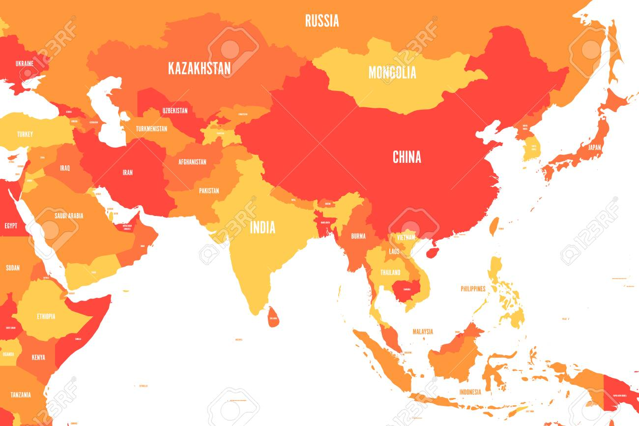 Political Map Of Western Southern And Eastern Asia In Shades