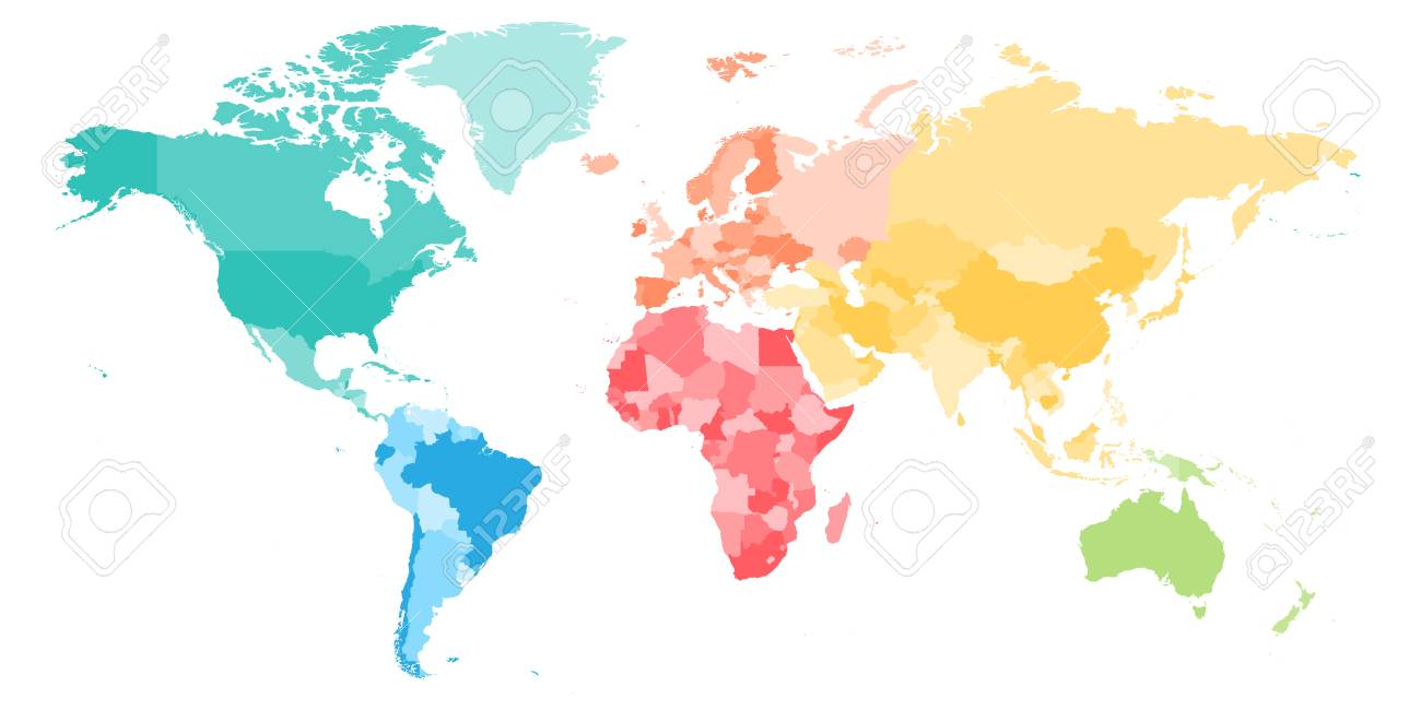 Colorful blank world map continents selol ink colorful blank world map continents multicolored world map divided to six continents in different colors colorful blank world map continents gumiabroncs Image collections
