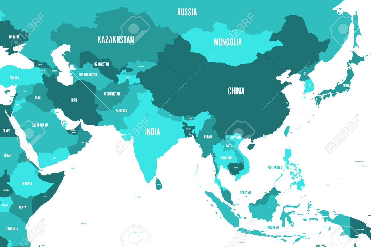 Map Of Modern Asia.Political Map Of Western Southern And Eastern Asia In Shades