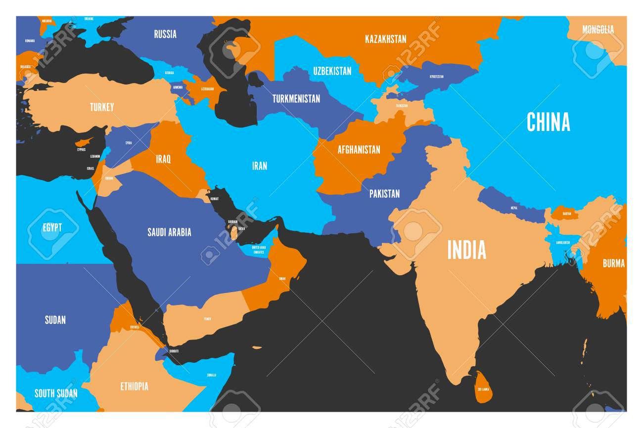 Südasien Karte.Stock Photo
