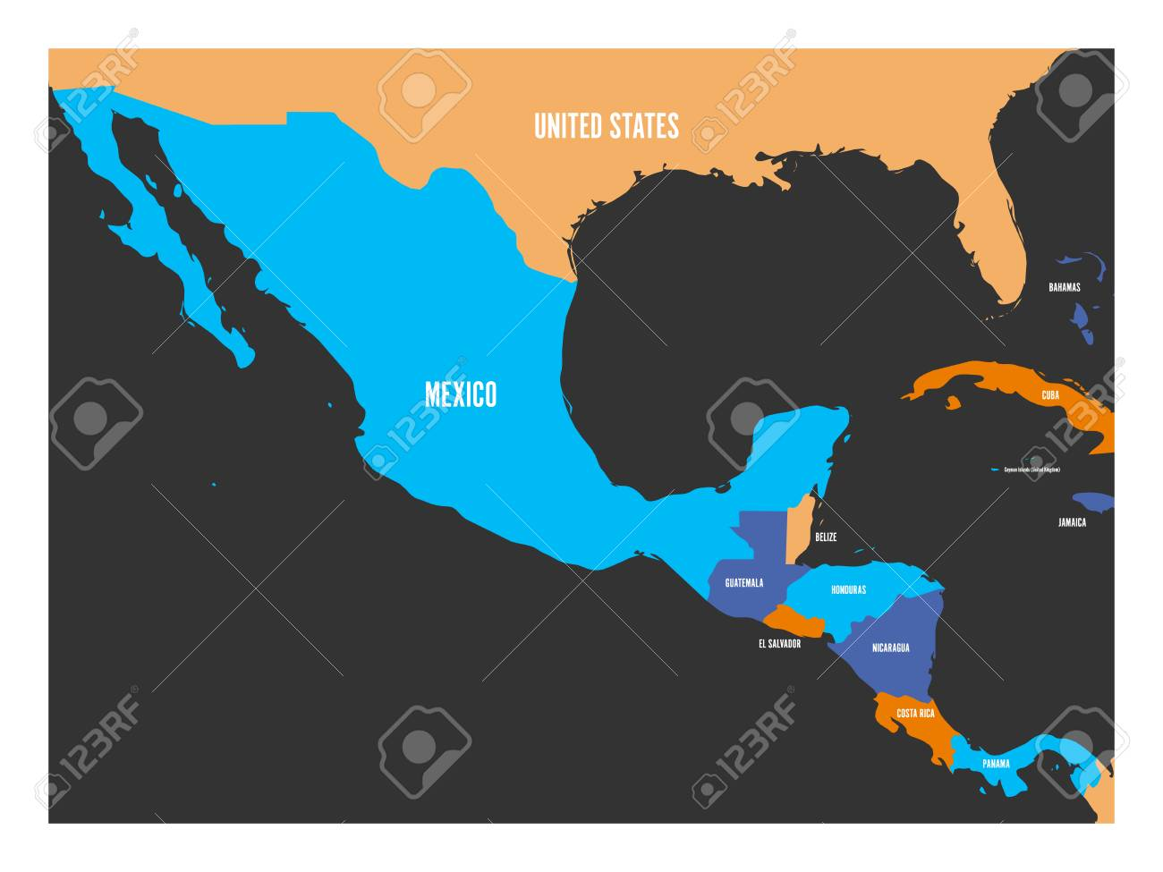 Political Map Of Central America And Mexico In Four Colors Simple