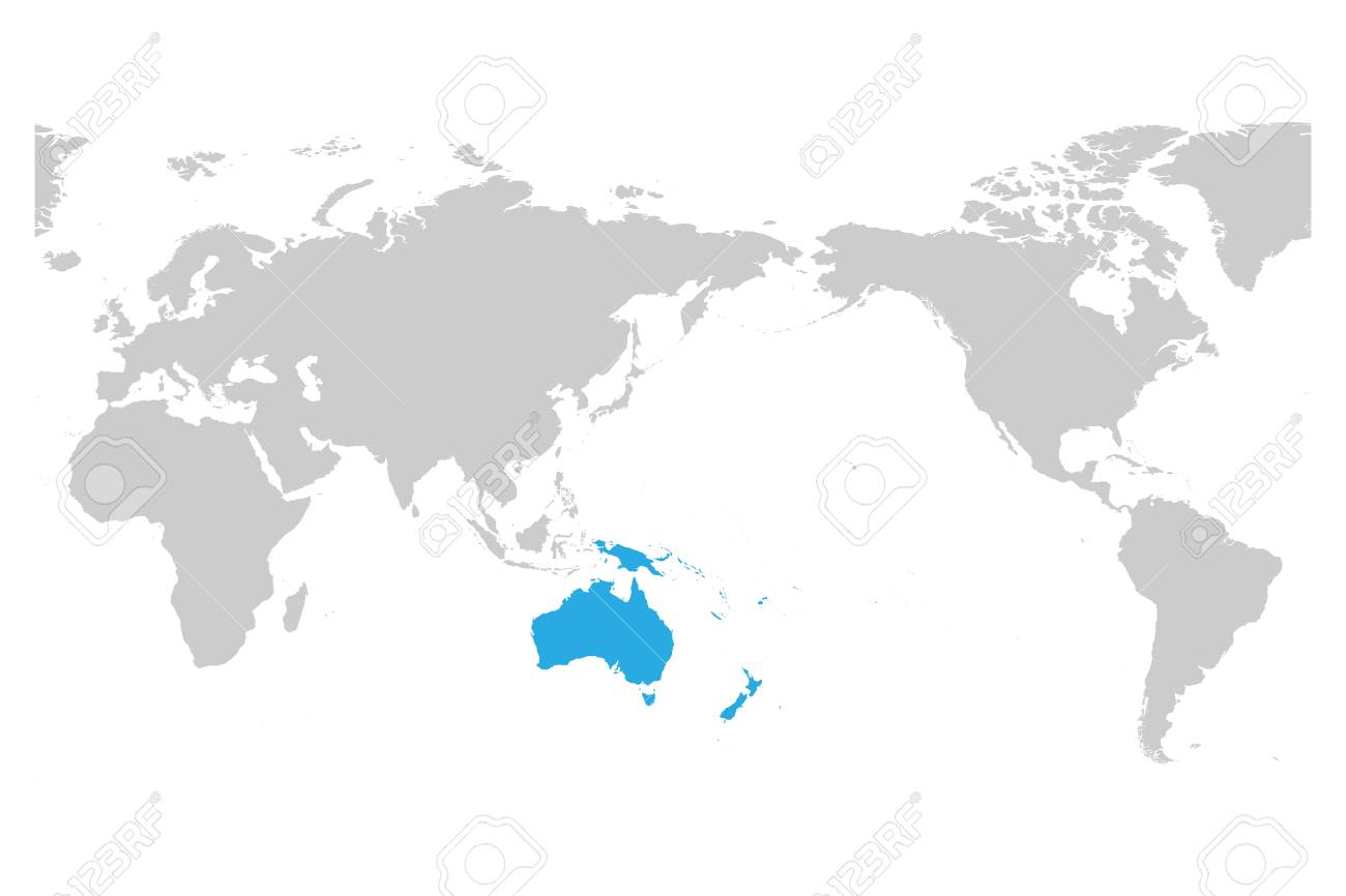 World Map With Australia.Australia And Oceania Continent Blue Marked In Grey Silhouette