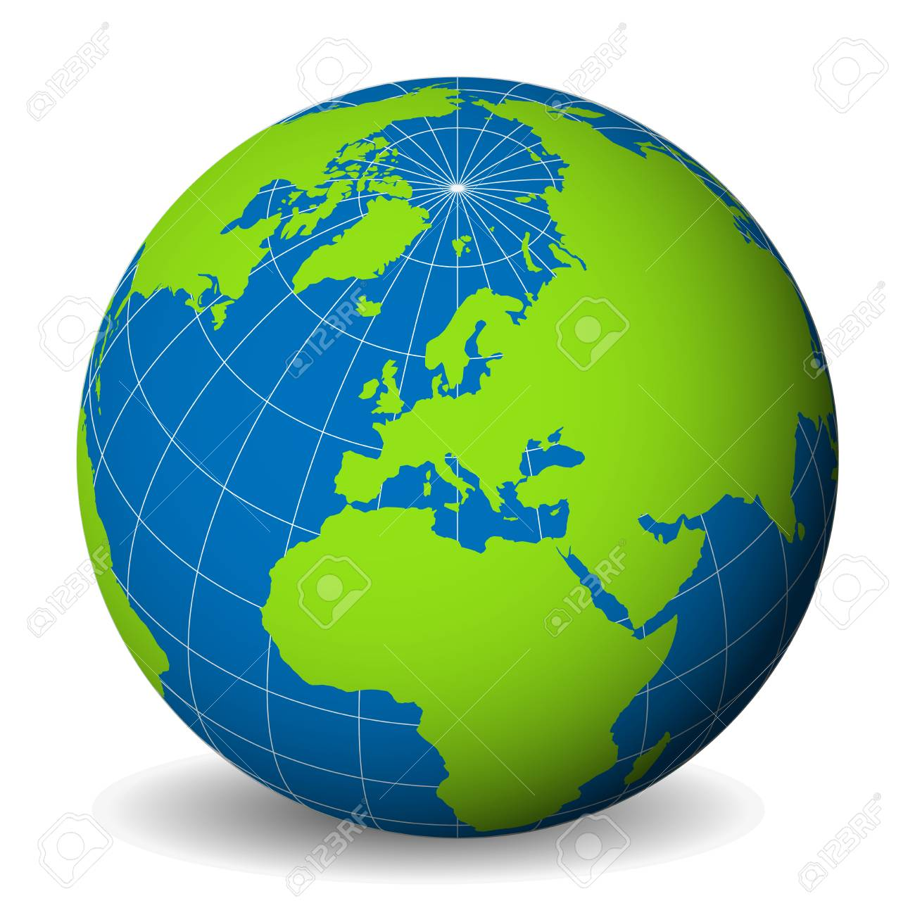 Earth globe with green world map and blue seas and oceans focused earth globe with green world map and blue seas and oceans focused od europe with gumiabroncs Choice Image