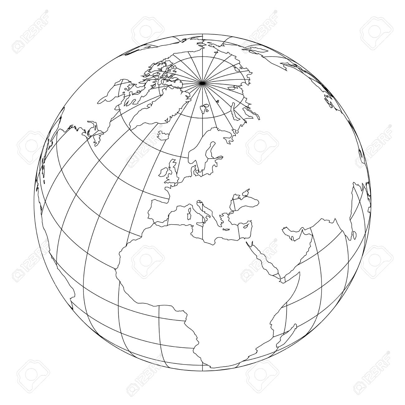 Outline Earth globe with map of World focused on Europe. Vector..