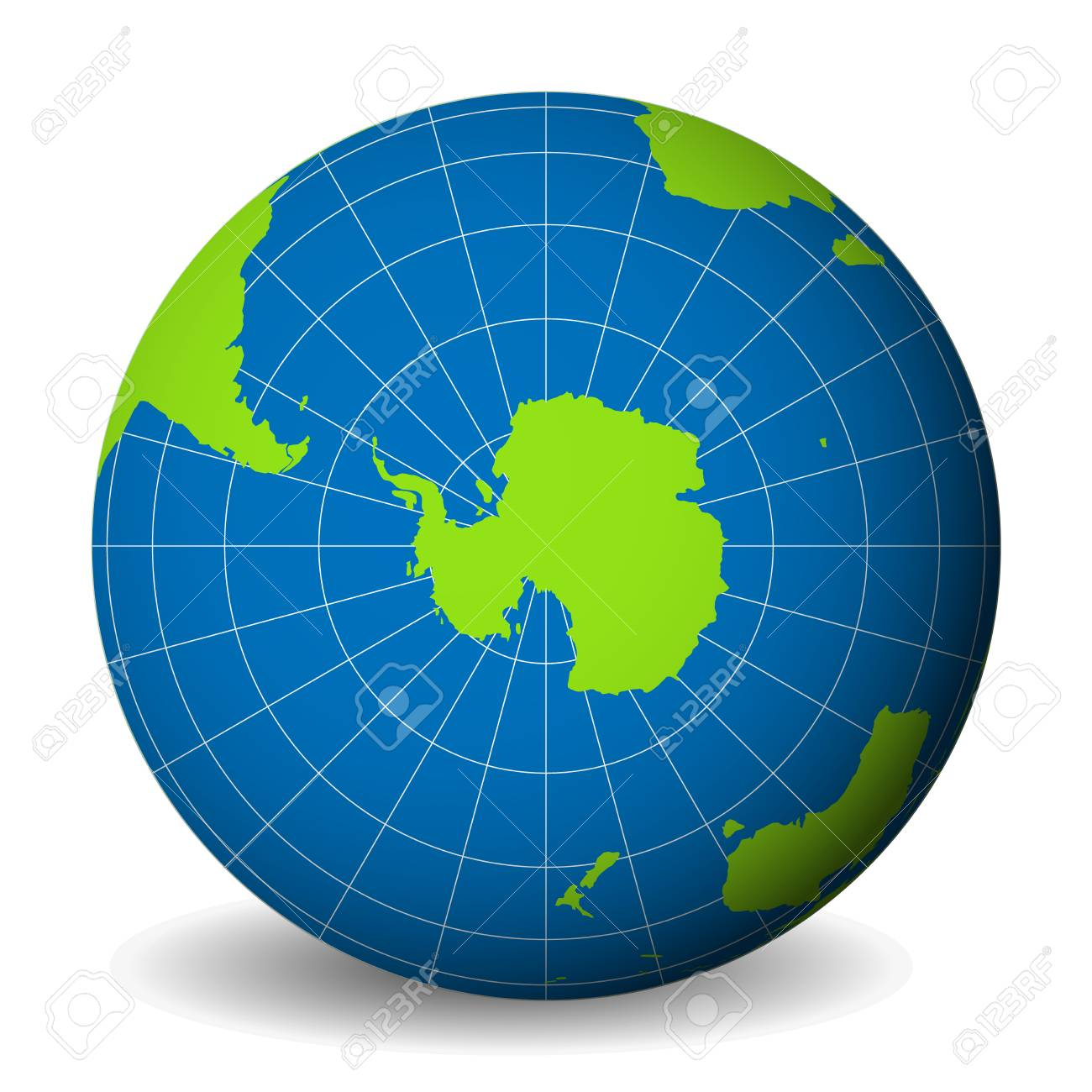 South Pole World Map.Earth Globe With Green World Map And Blue Seas And Oceans Focused