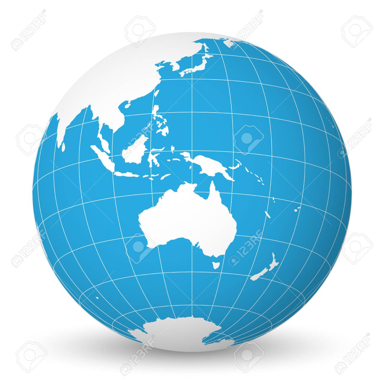 Australia Map Globe.Earth Globe With Green World Map And Blue Seas And Oceans Focused