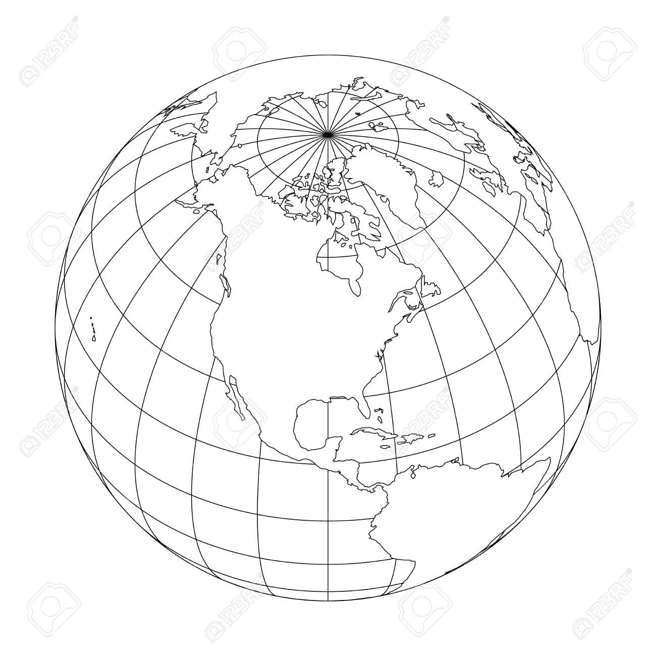 Outline Earth Globe With Map World Focused North America