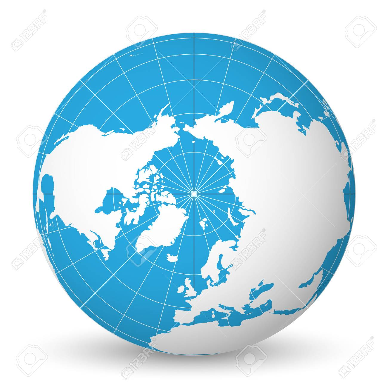 Earth globe with green world map and blue seas and oceans focused on Arctic Ocean and North Pole. With thin white meridians and parallels. 3D vector illustration. - 94131768