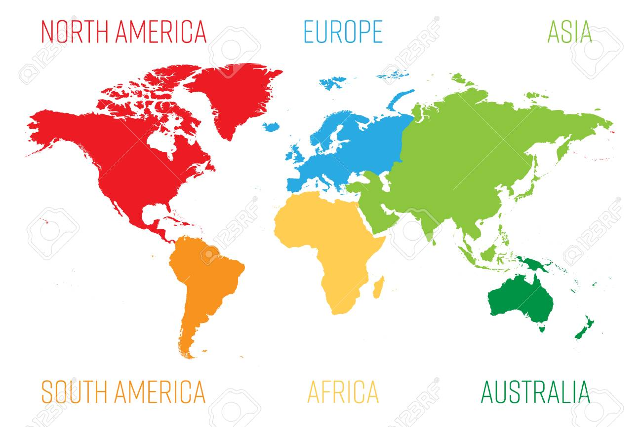 World Map Divided Into Six Continents. Each Continent In Different ...