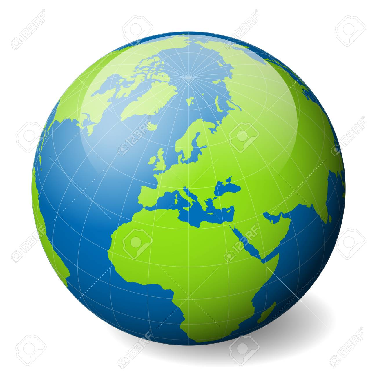 Earth globe with green world map and blue seas and oceans focused earth globe with green world map and blue seas and oceans focused on europe with gumiabroncs Gallery