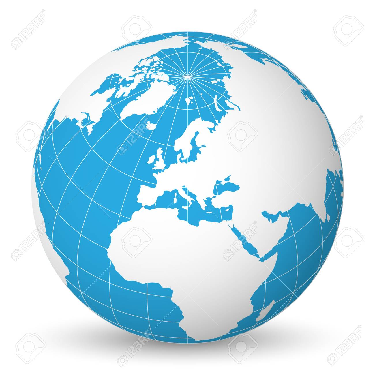 Earth globe with green world map and blue seas and oceans focused earth globe with green world map and blue seas and oceans focused on europe with gumiabroncs Image collections