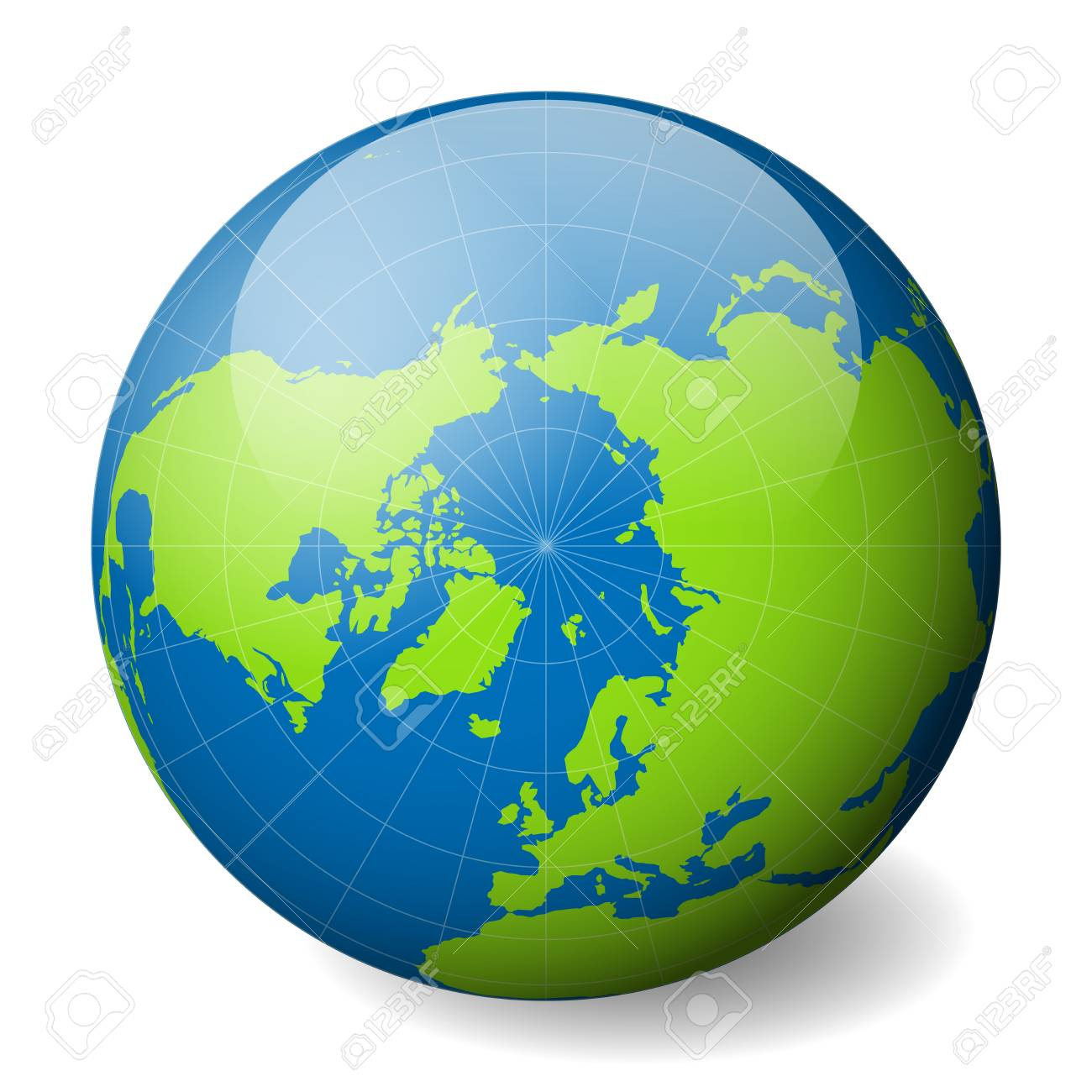 Earth Globe With Green World Map And Blue Seas And Oceans Focused