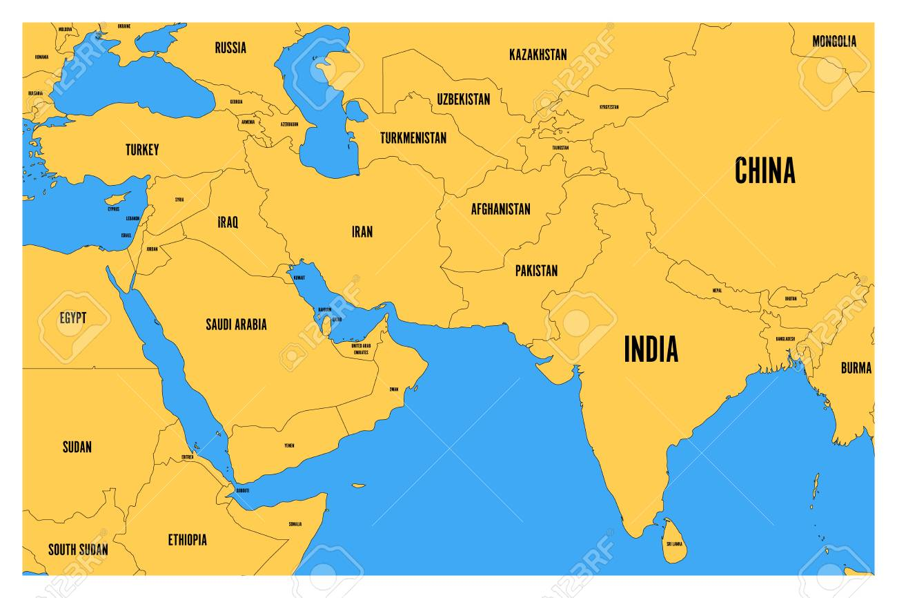 South Of Asia Map.Political Map Of South Asia And Middle East Simple Flat Vector