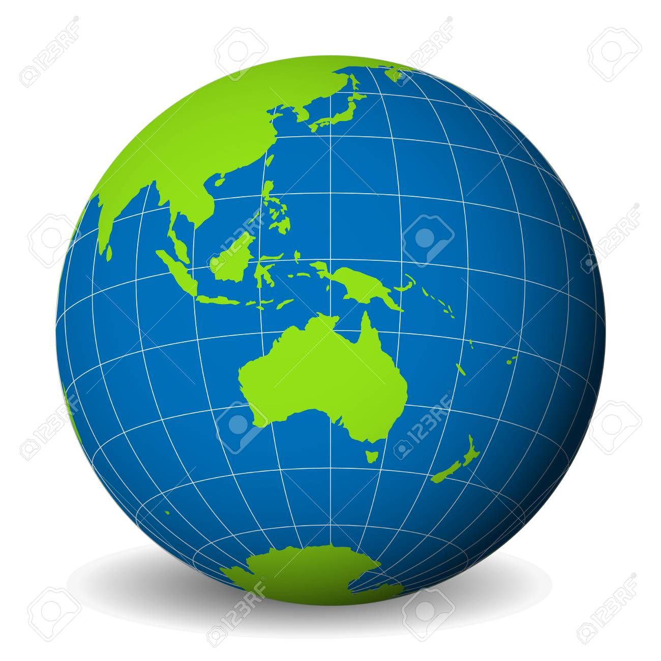 Australia In World Map.Earth Globe With Green World Map And Blue Seas And Oceans Focused