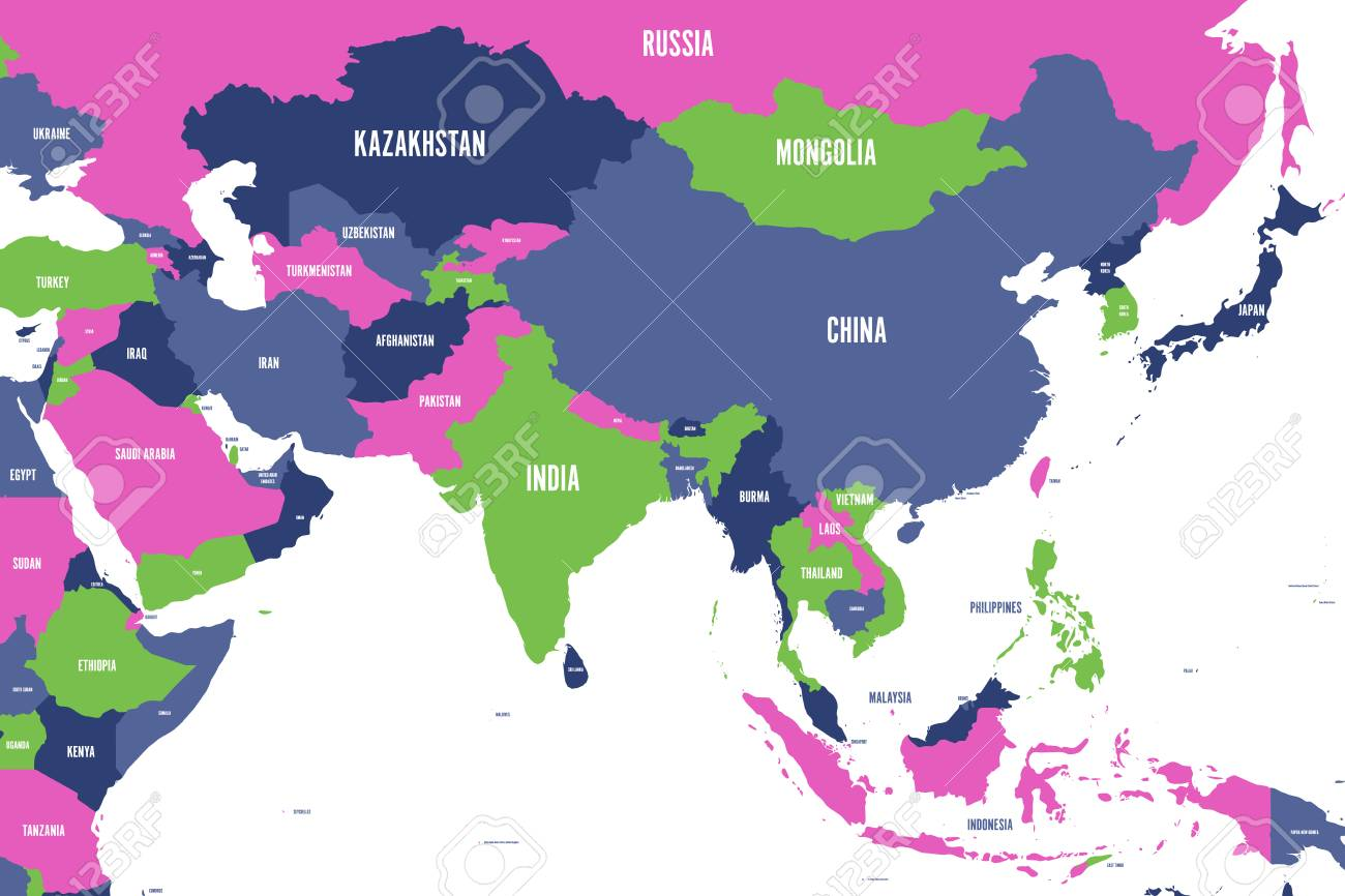 Colorful political map of western, southern and eastern Asia...