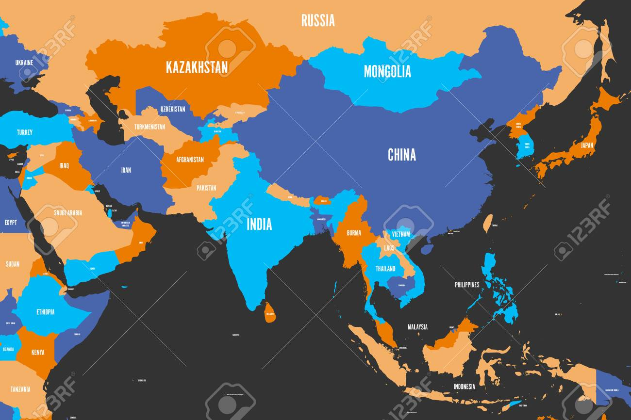 Map Of Southern And Eastern Asia.Colorful Political Map Of Western Southern And Eastern Asia