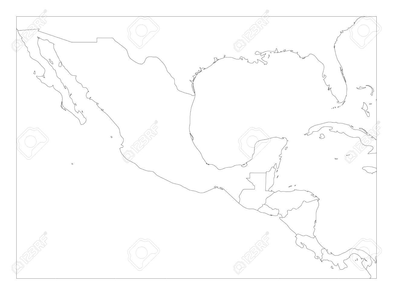 Mapa Politico En Blanco.Mapa Politico En Blanco Del Centro De America Y Negro Pixelado Ilustracion Vectorial Esquema Generico Simple