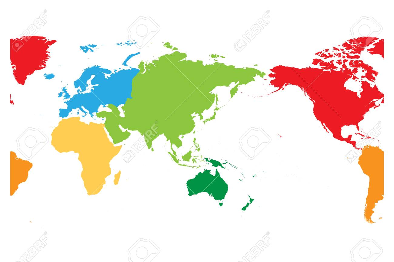 World Map Asia Centered.World Map Divided Into Six Continents Asia And Australia Centered