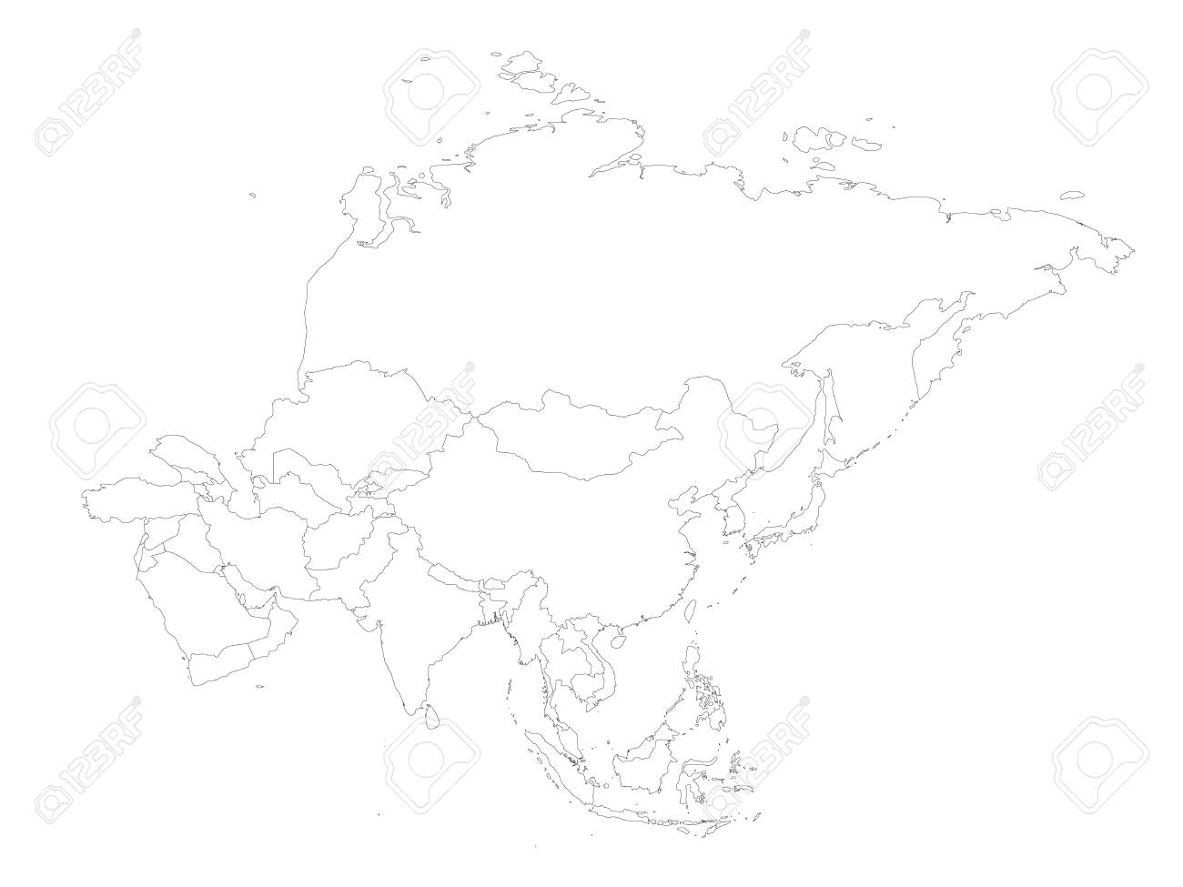 Image of: Blank Political Outline Map Of Asia Continent Vector Illustration Royalty Free Cliparts Vectors And Stock Illustration Image 96106804