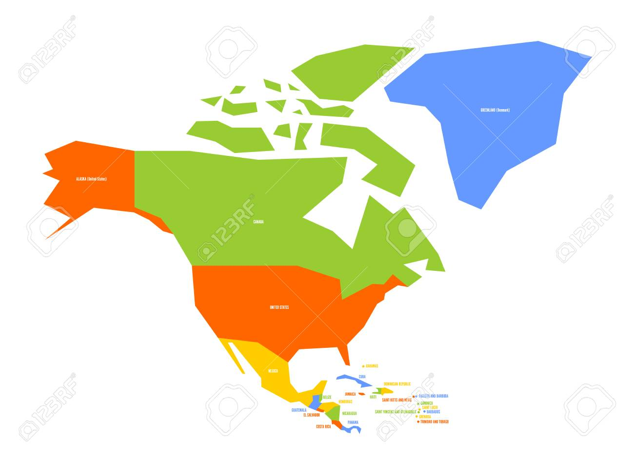 Very Simplified Infographical Political Map Of North America