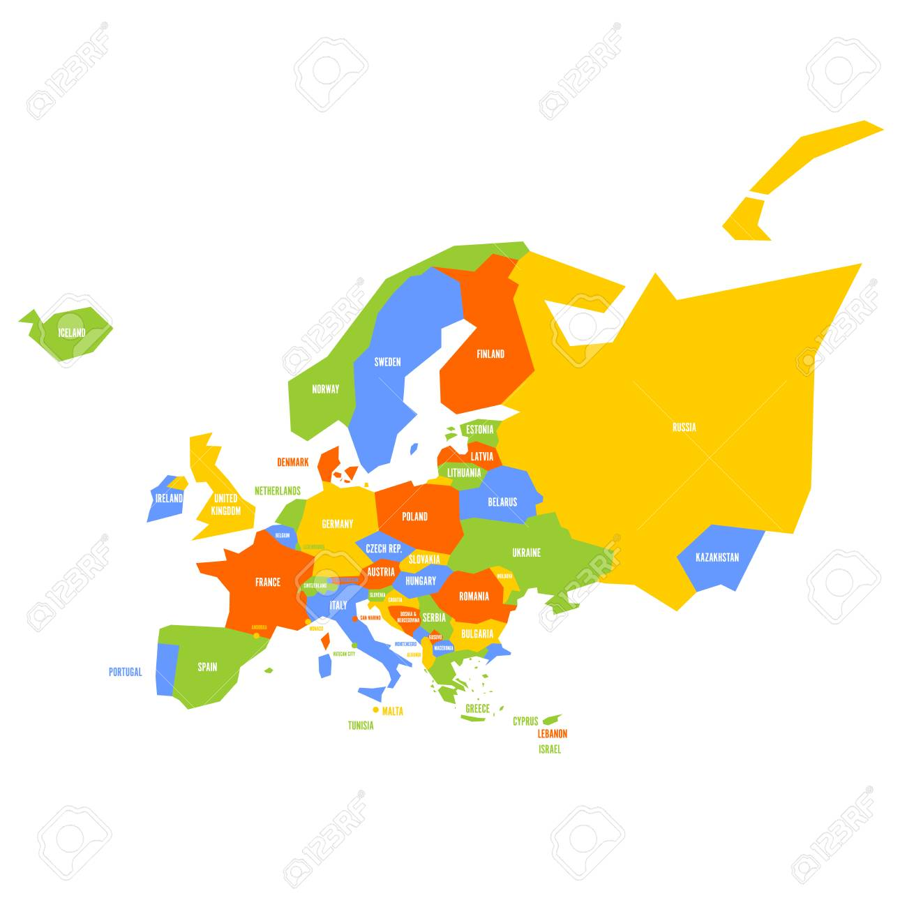 Very Simplified Infographical Political Map Of Europe Simple