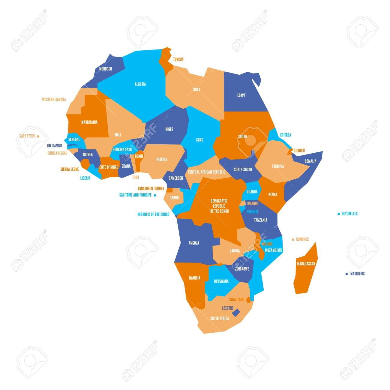 Very Simplified Infographical Political Map Of Africa. Simple
