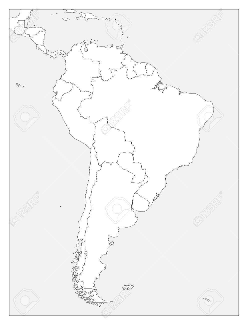 Mapa Politico En Blanco.Mapa Politico En Blanco De Vector De Contorno Plano Simple Mapa De Contorno Simple