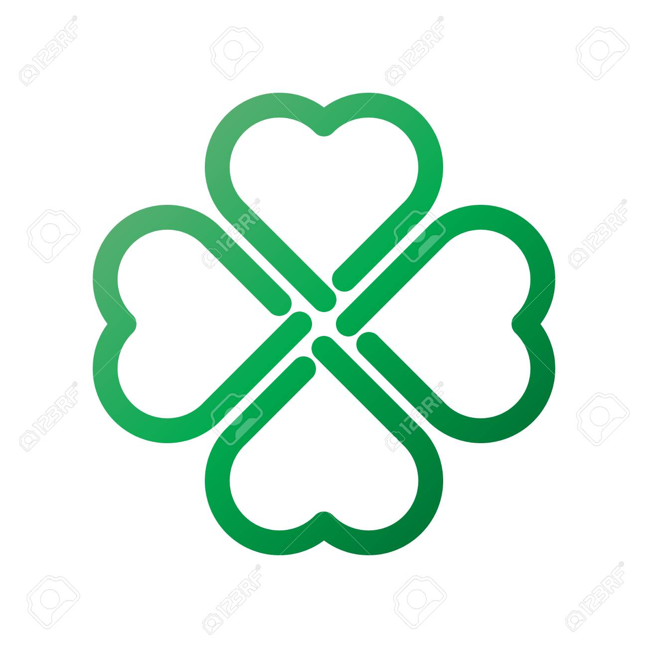 shamrock green gradient thick outline four leaf clover icon good luck theme design element