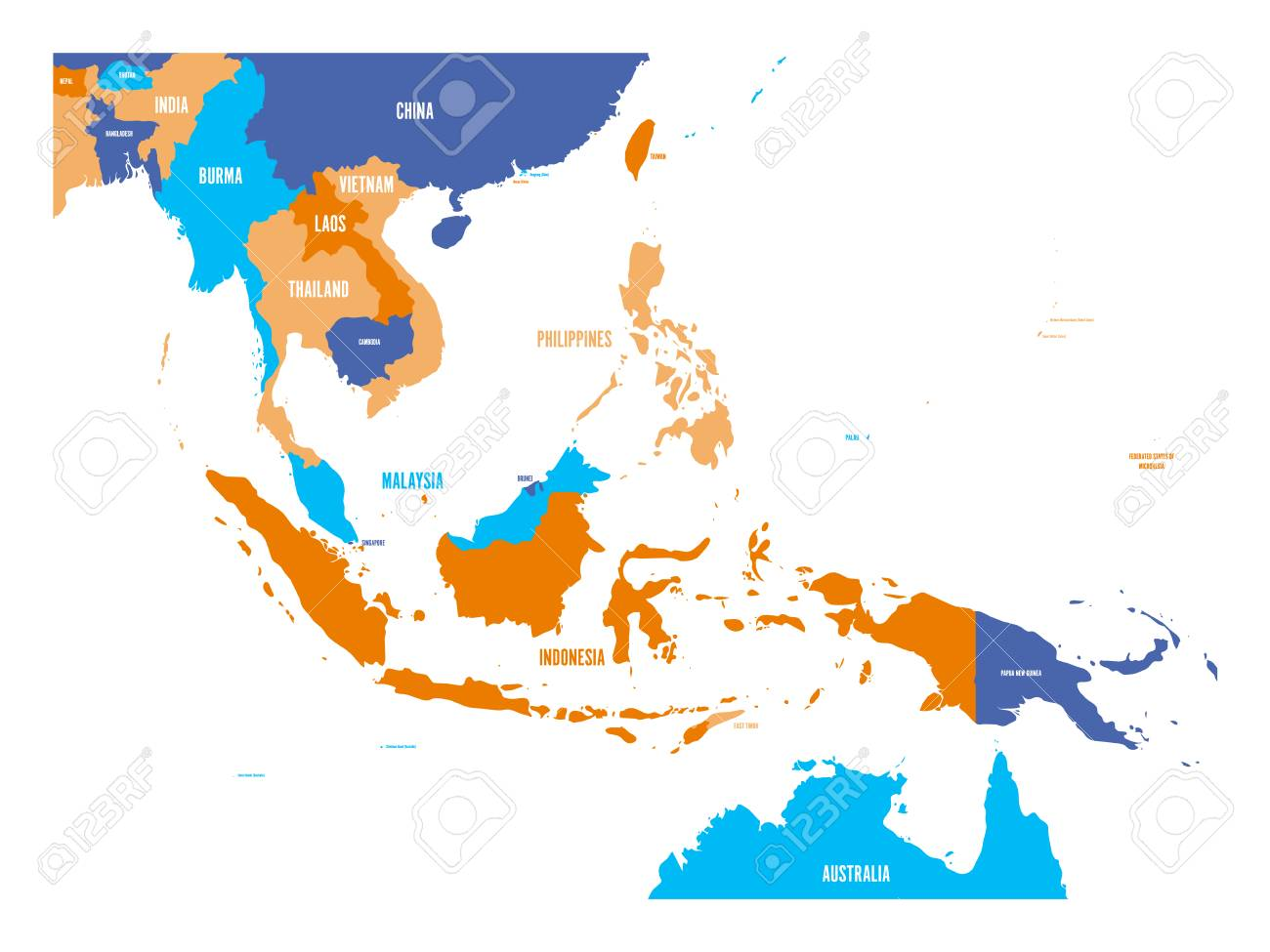 Vector map of Southeast Asia. - 97455492