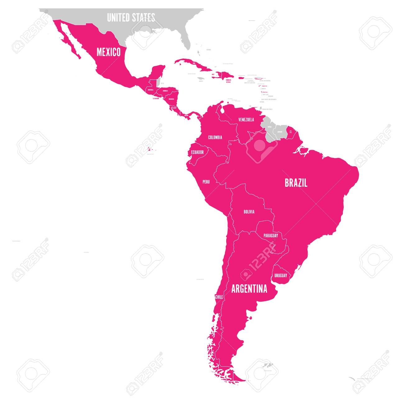 The Map Of America States.Political Map Of Latin America Latin American States Pink Highlighted