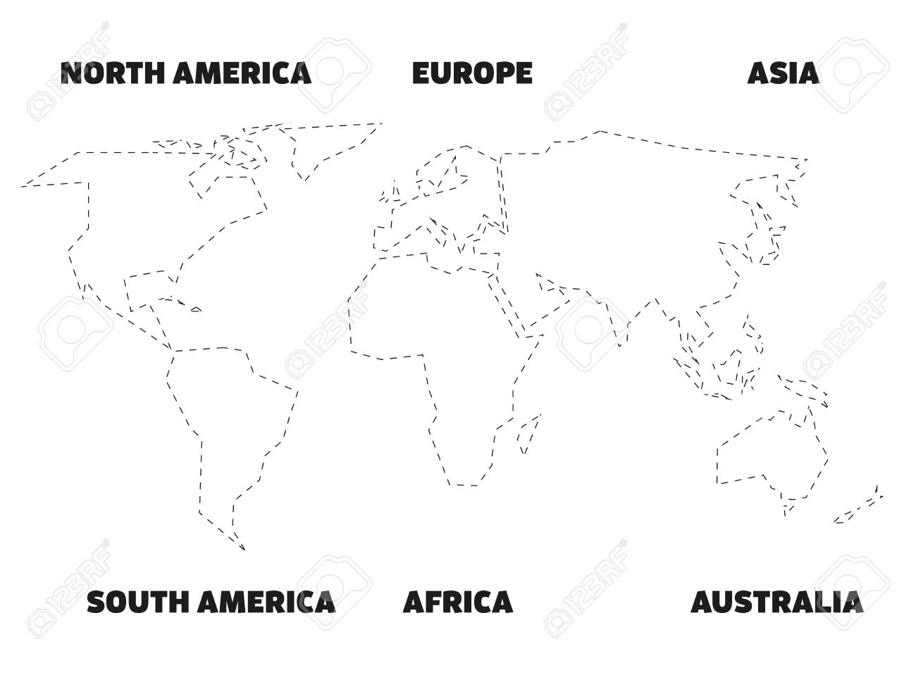 Image of: Simplified Black Outline Of World Map Divided To Six Continents Royalty Free Cliparts Vectors And Stock Illustration Image 98555217