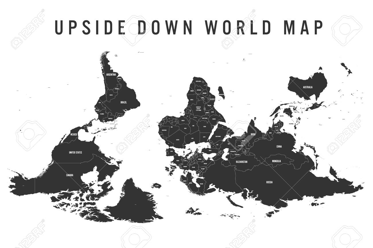 Australia Map Upside.Reversed Or Upside Down Political Map Of World South Up Orientation