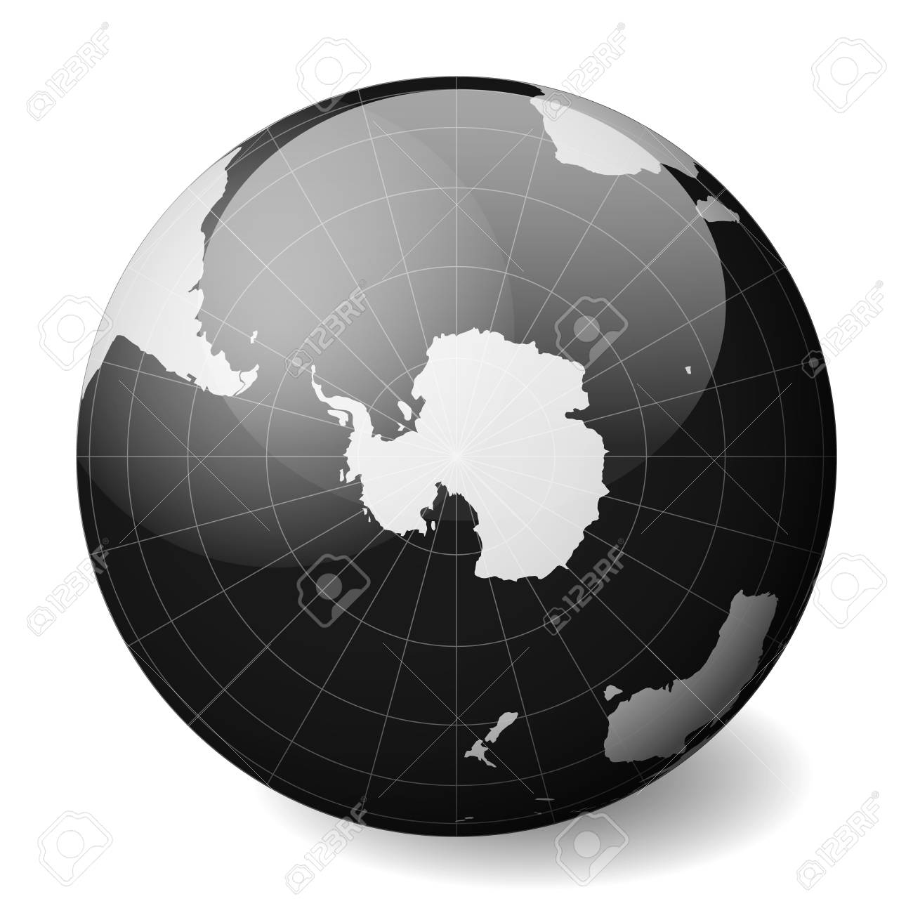 South Pole World Map.Earth Globe With White World Map And Black Seas And Oceans Focused
