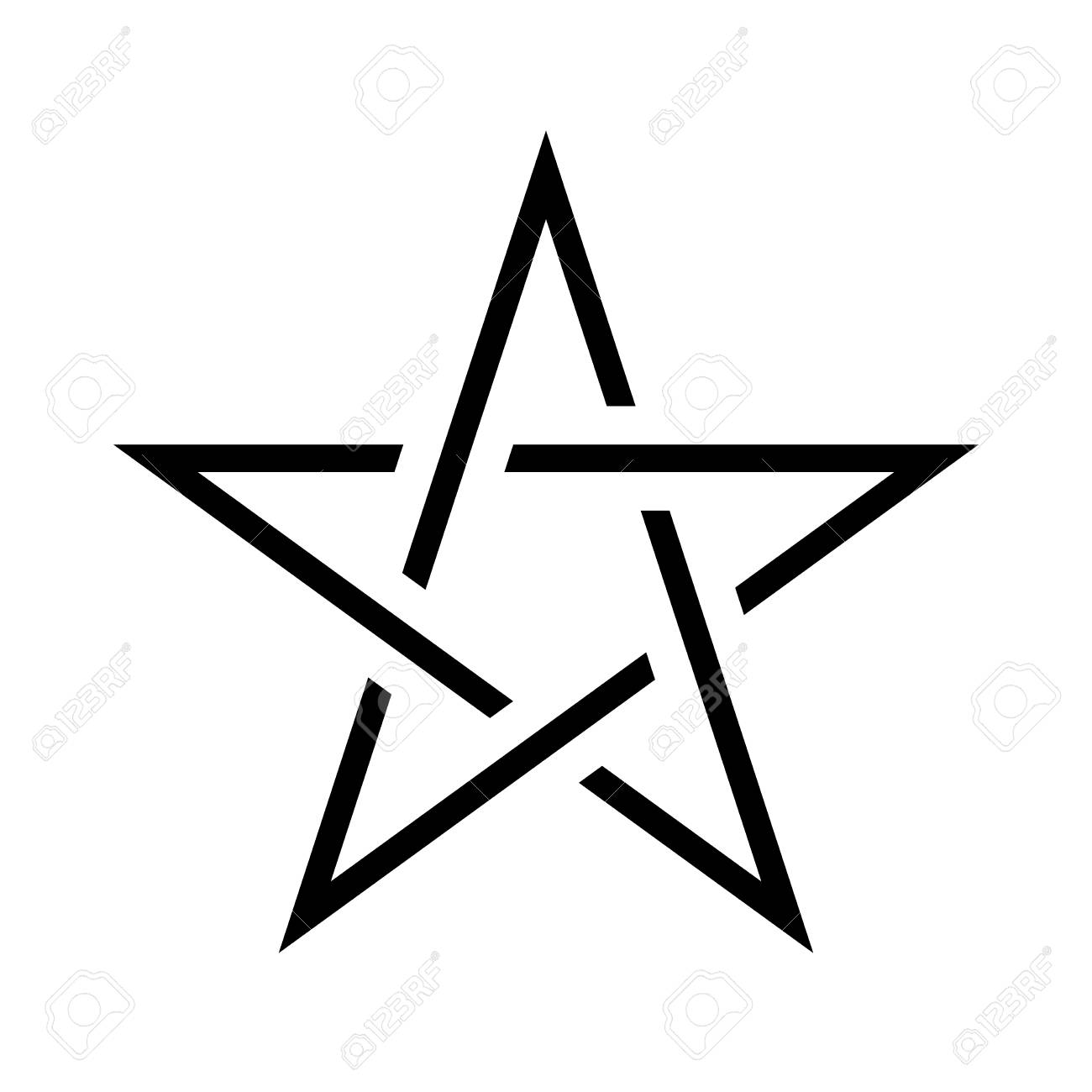 10a11f44c7a87 Pentagram sign - five-pointed star. Magical symbol of faith. Simple flat  black