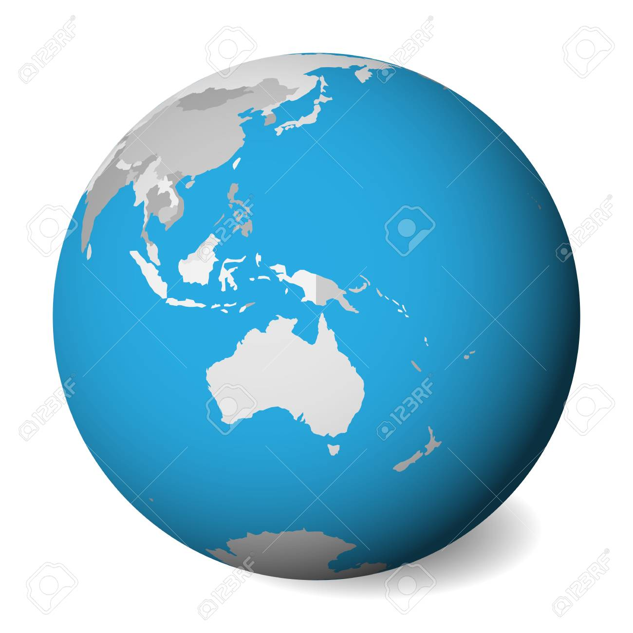 Australia Map Globe.Blank Political Map Of Australia 3d Earth Globe With Blue Water