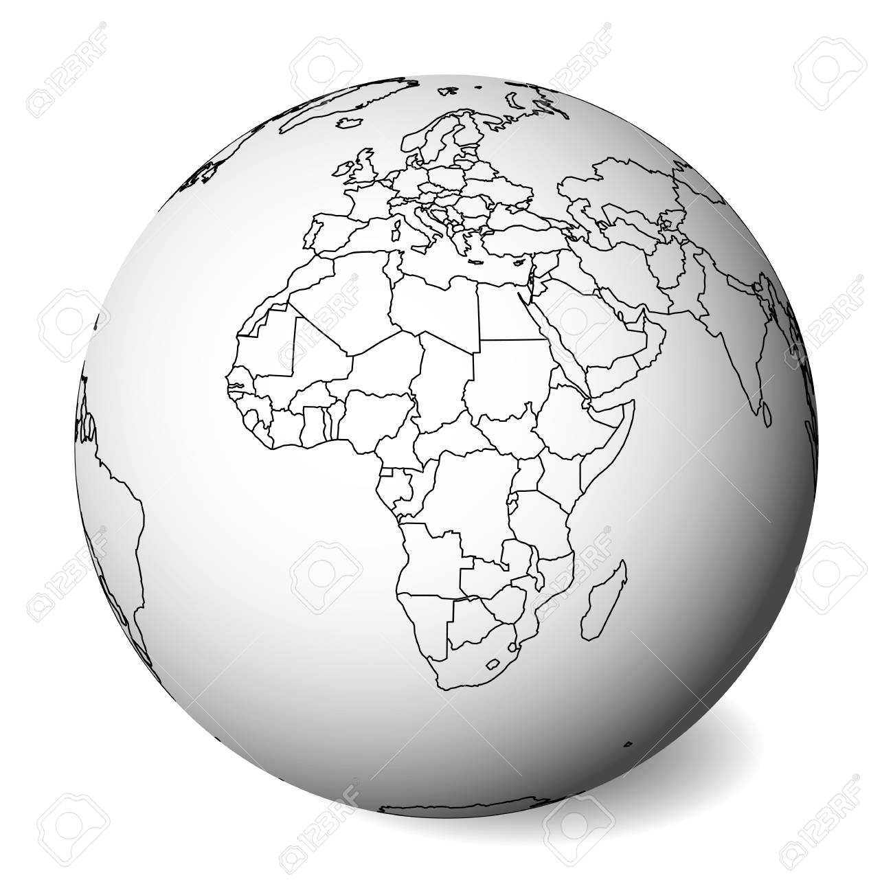 Blank political map of Africa. 3D Earth globe with black outline.. on blank countries of west africa, blank map of asia, labeled map of africa in black and white, large africa map black and white, usa clip art black and white, blank map south of the sahara, blank map with rainforests labeled, blank african map countries labeled, blank map south and east countries,