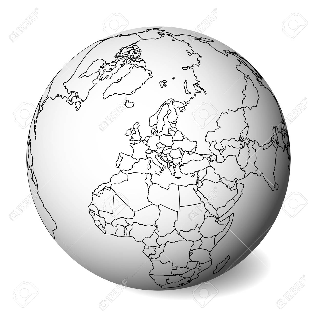 Blank political map of Europe. 3D Earth globe with black outline..