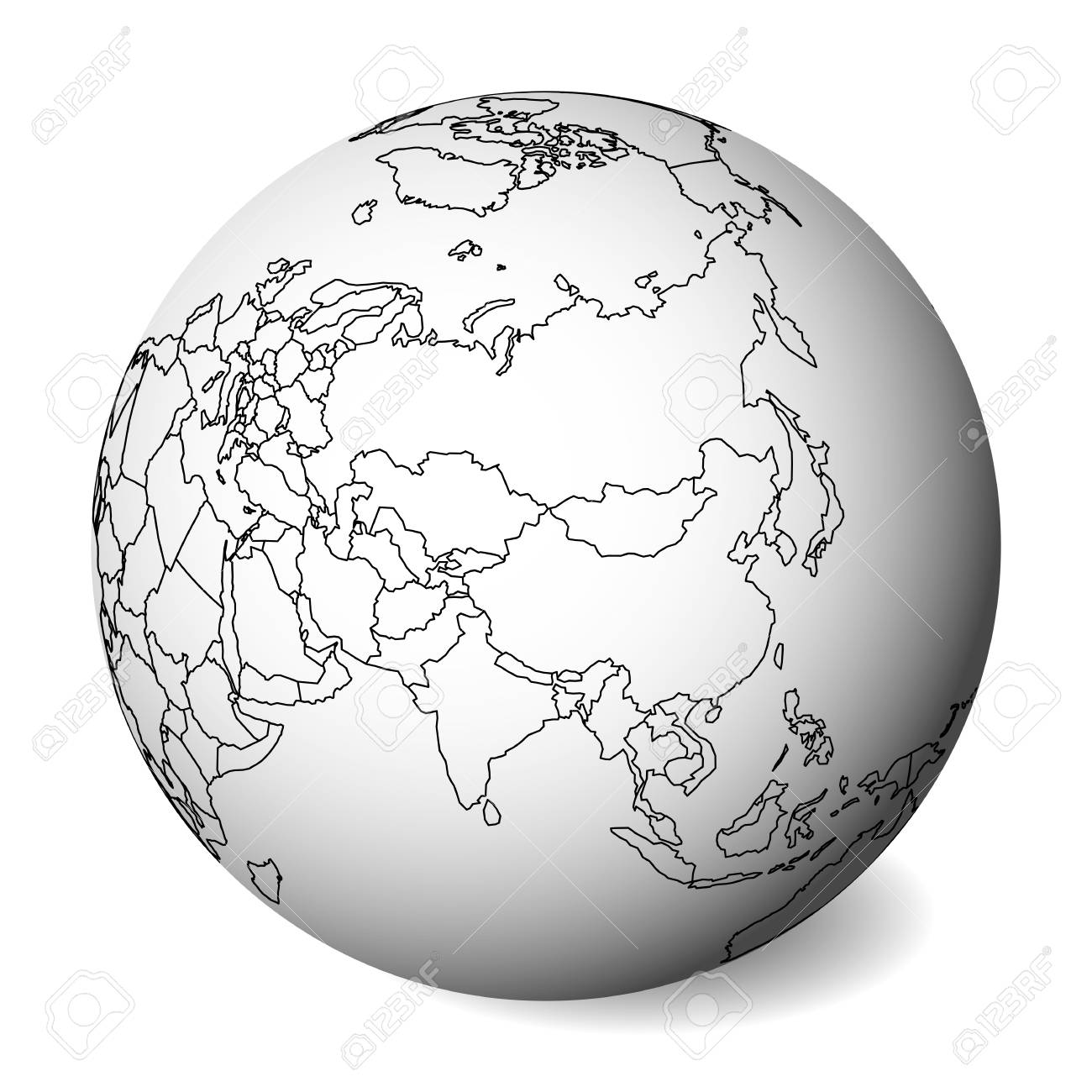 Picture of: Blank Political Map Of Asia 3d Earth Globe With Black Outline Royalty Free Cliparts Vectors And Stock Illustration Image 127420325