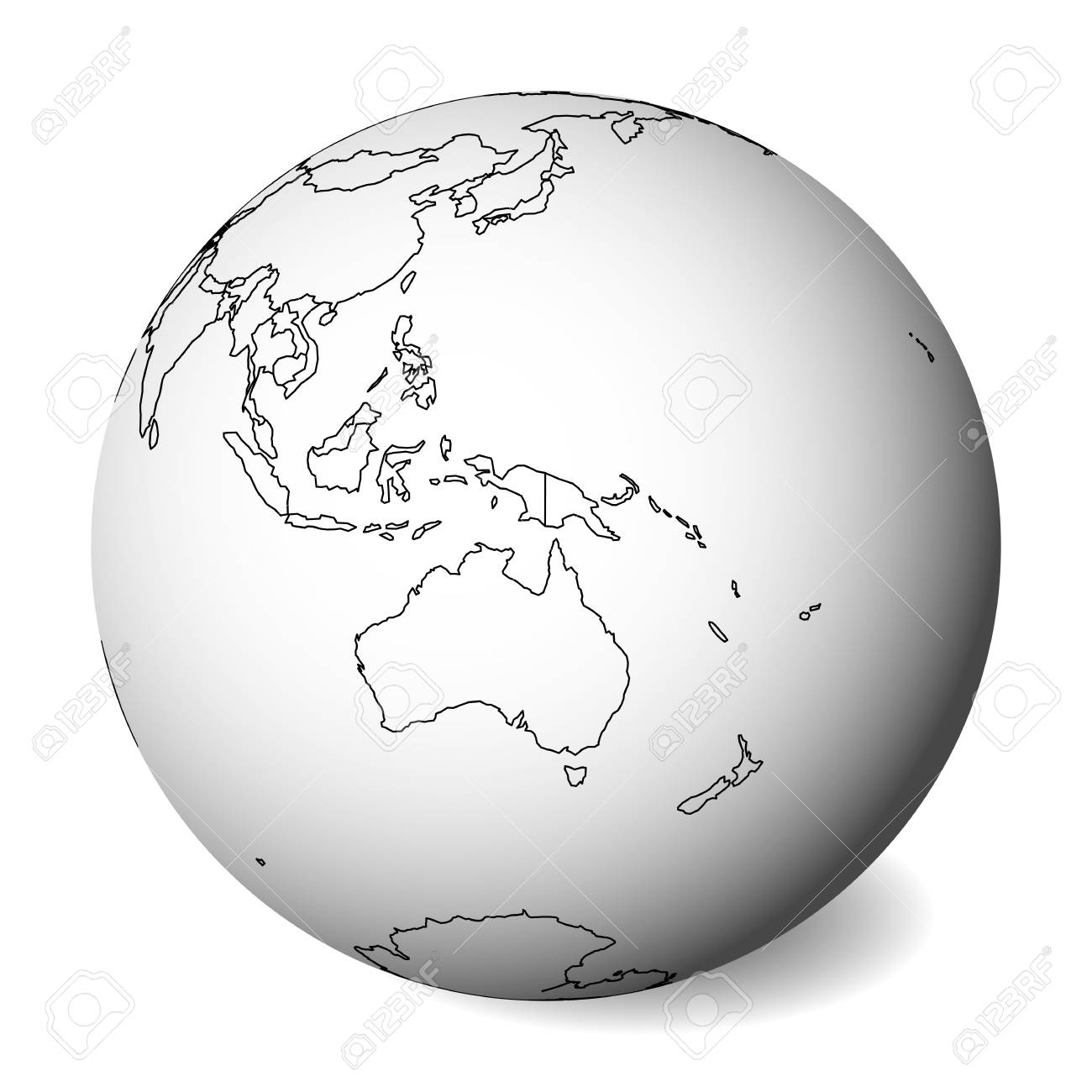 Map Of Australia Blank.Blank Political Map Of Australia 3d Earth Globe With Black Outline