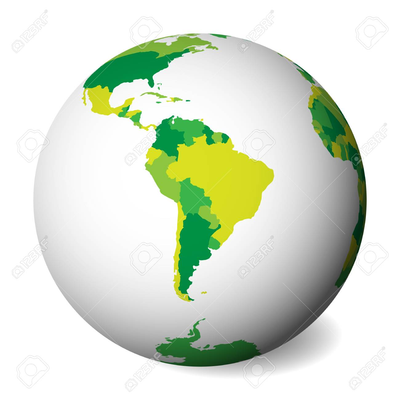 Blank Political Map Of South America 3d Earth Globe With Green