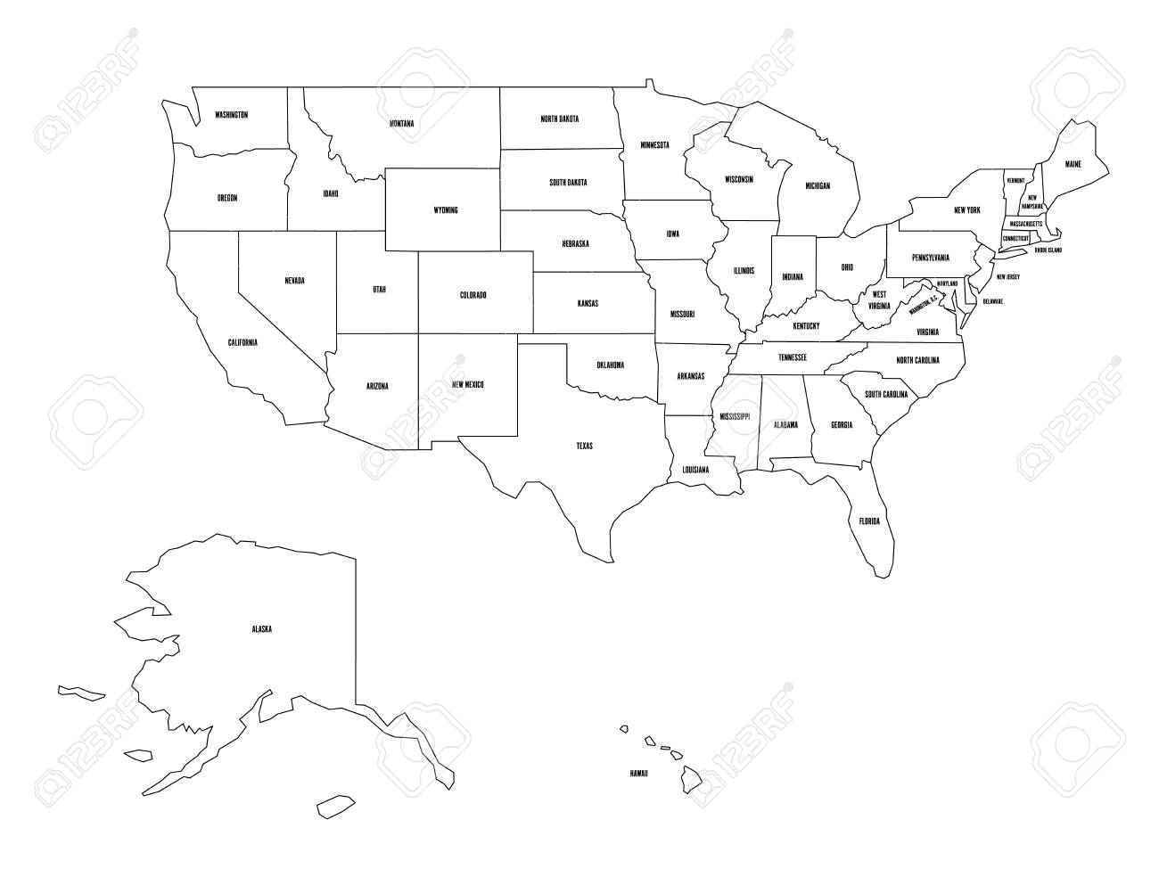 Political map of United States od America, USA. Simple flat black..