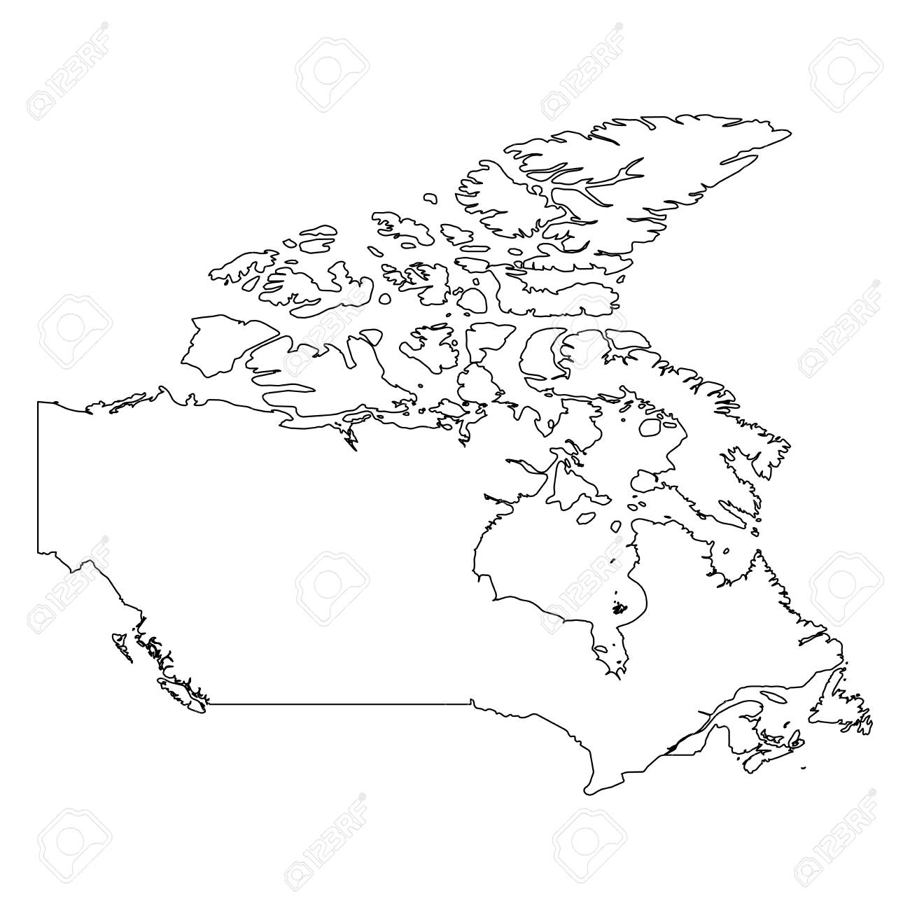 Map Of Canada Simple.Canada Solid Black Outline Border Map Of Country Area Simple