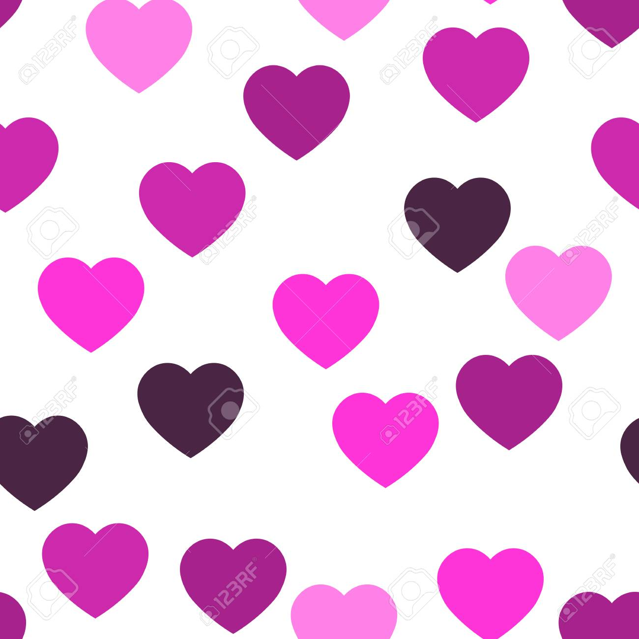 Pink hearts seamless pattern. Random scattered hearts background. Love or Valentine theme. Vector illustration. - 125779539
