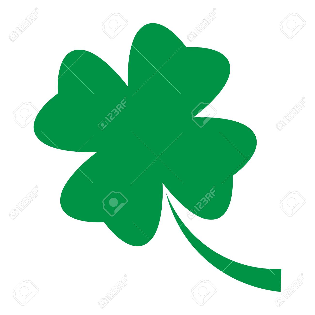 Shamrock Green Four Leaf Clover Icon Good Luck Theme Design