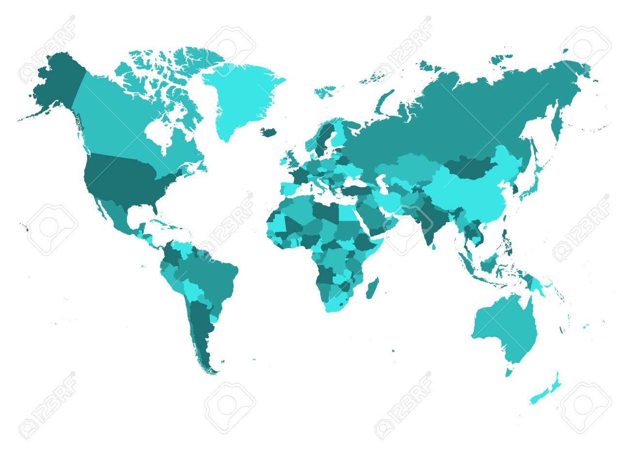 World map in four shades of turquoise blu on white background. High detail political map with country names. Vector illustration. - 124996349