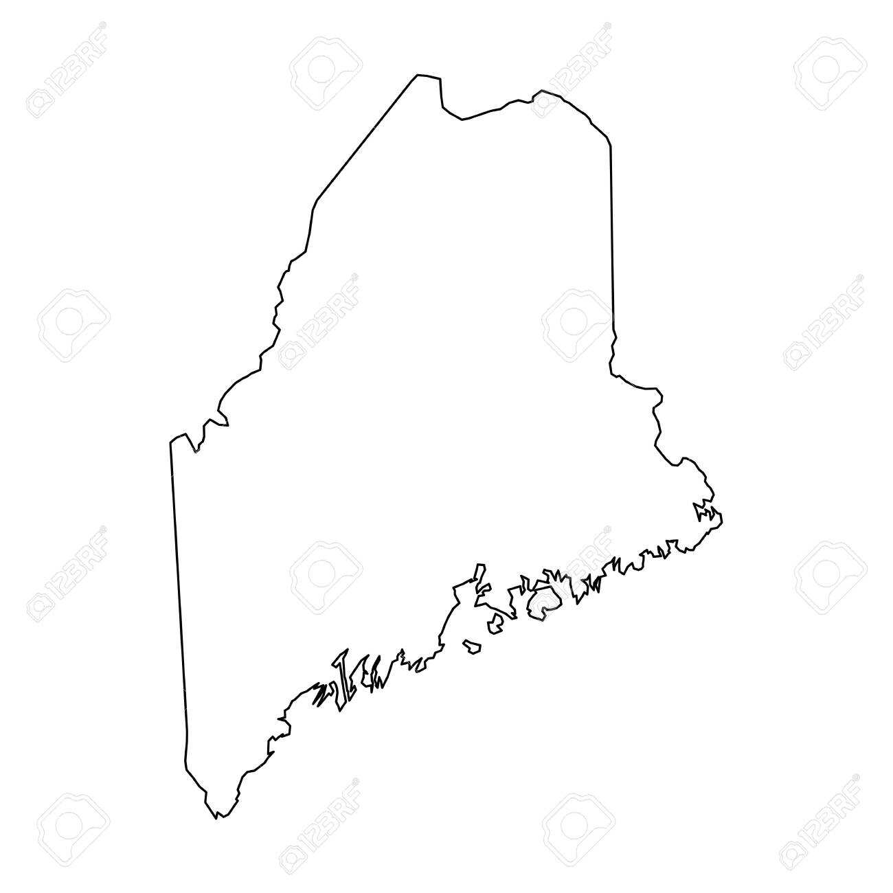 Maine, state of USA - solid black outline map of country area. Simple flat vector illustration. - 124448014
